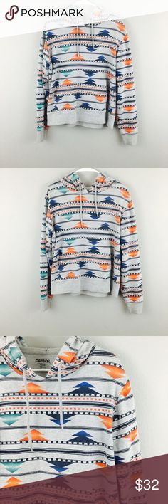 Carbon Aztec Gray Multi Color Hooded Sweater! Size small! Please note this is not Patagonia just using for exposure the brand is Carbon! Patagonia Sweaters