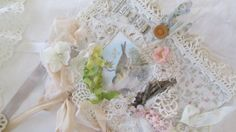 Mixed Media Art Journal Shabby Lace Collage by underthenightmoon, $65.00