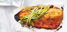 A sweet and sticky salmon dish with Asian flavours that makes for a beautiful  evening meal.
