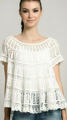 FREE!!  CHART AND IDEO TUTE!! Romantic blouse with crochet