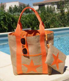 Beach bag in burlap and its matching pouch - Hessian Bags, Burlap Tote, Jute Bags, Beach Towel Bag, Beach Bags, Coffee Bean Bags, Handbag Stores, Patchwork Bags, Summer Bags