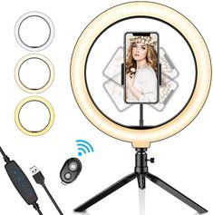 The 10 inch led ring light is with 3 lighting modes & 10 adjustable brightness for your choose, 3 light modes: white, warm yellow, warm yellow + white, each lighting mode has 10 brightness level which can meet all your needs in different circumstances.