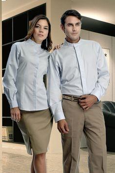 Uniforme de dos piezas con camisa tipo cuello 'mao' en color azul cielo y arena. Uniforme corporativo de dos piezas con pantalón  azul marino y camisa blanca de manga corta. http://www.creacionesred.com.mx/