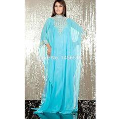 10137 W Skye azul árabe Jalabiya caftán ropa islámica para para 2016 alto cuello…