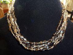 Topaz and Sterling Silver Mutli Strand Vintage Necklace