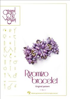 *P Bracelet tutorial / pattern Rizomizo with Rizo beads ..PDF instruction for personal use only