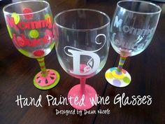 Hand Painted Wine Glasses http://www.designedbydawnnicole.com/ by DesignedbyDawnNicole, via Flickr