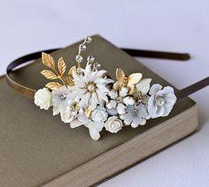 Bridal Headband  White Gold Floral Headband Wedding by lonkoosh