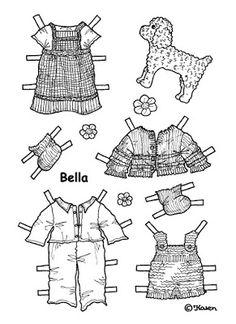 Karen`s Paper Dolls: Bella 1-5 Paper Doll to Print and Colour. Bella 1-5…
