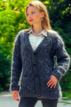 6a5b2a93e94 Bluish grey cardigan hand knitted mohair sweater coat designer cable jacket   SuperTanya  Cardigan Grey