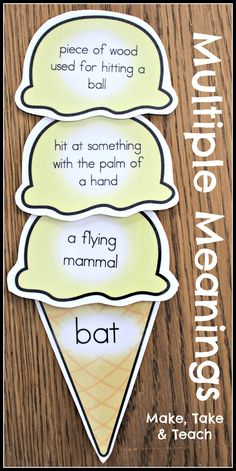 16 colorful multiple meanings ice cream cones. Fun vocabulary activity!