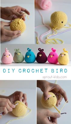 DIY Crochet Bird: Party ideas for little girl's birthday party & DIY craft projects Crochet Baby Toys, Crochet Birds, Crochet Dolls, Easy Crochet Animals, Crocheted Flowers, Crochet Stars, Knitted Dolls, Quick Crochet Patterns, Crochet Flower Patterns