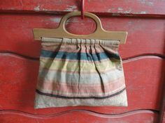 Vintage Tote - Wooden Handles - Hippie Funky Boho Cool by cherylanngoods on Etsy