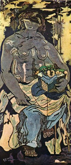 "artist-braque: "" Nude Woman with Basket of Fruit (Canephorus) by Georges Braque Size: 73x160 cm Medium: oil, canvas"""
