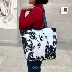 Eco-Friendly Bag made with Vegan leather. Cowhide Fabric, Cowhide Purse, Cowhide Leather, Fur Bag, Cow Print, Large Tote, Black Cotton, Bag Making, Vegan Leather