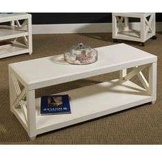 Transitions Rectangular Cocktail Table in Weathered White Finish