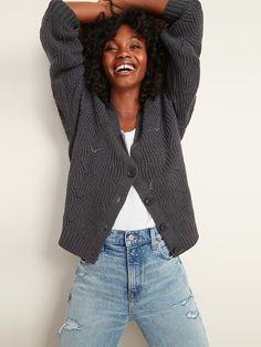 Pointelle-Knit V-Neck Button-Front Cardigan Sweater for Women | Old Navy