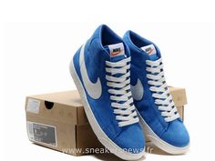 new product 08208 844b7 Nike Blazer High Premium Vintage Blue Suede blanc homme Chaussure Nike  Blazer Pas Cher Running Shoes
