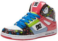 DC Women's Rebound High SE Lace-Up Fashion Sneaker,White/Blue/Red,5