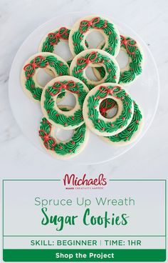 """Bring the #holiday spirit from your door to the dining room with this delicious Spruce Up Wreath Sugar Cookie recipe! Start by whipping up a batch of your favorite sugar cookies, then top each with a thin layer of leaf green icing and decorative """"berries"""" for a sweet seasonal sugar rush!"""