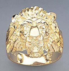 Solid Gold Lion Ring