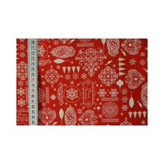 Weihnachts - Stoff Weihnachtsnostalgie rot von stoffe-tippel auf DaWanda.com