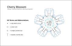 diagram Crochet Flower Headbands, Crochet Flower Patterns, Crochet Flowers, Crochet Diagram, Crochet Chart, Easy Crochet, Apple Blossom Flower, Cherry Blossoms, Dream Catcher Wedding