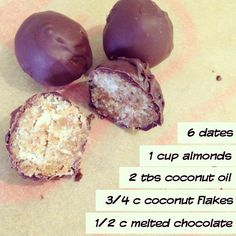 Date Sweetened Chocolate Covered Almond Coconut Truffles  Reader Recipe!!      Simply process all ingredients in food processor/vitamix (except the chocolate) and then form into balls, chill and then coat in chocolate using a double boiler. Chill to set.