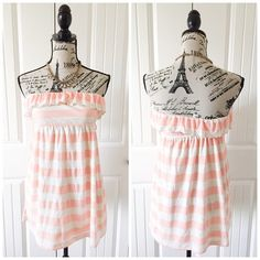 """Peachy Pink & Oatmeal Striped Tunic This cute tunic can be worn as a mini dress or as a top. It's a very cute piece for traveling & vacation{actual color of item may vary slightly from pics}  *chest:12.5""""w/stretch *waist:""""12""""2/stretch  *length:20.5"""" *material/care:50%polyester 42%rayon8%linen hand wash *fit:true *condition:good no rips/stains  20% off bundles of 3/more items No Trades  NO HOLDS No transactions outside of Poshmark  No lowball offers Tops Tunics"""