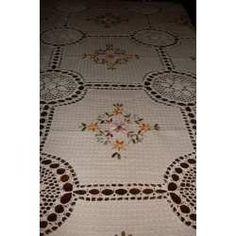 Manteles En Crochet Y Tela Rústica Bordado En Cinta - $ 500,00 en MercadoLibre