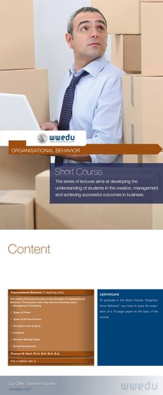 """Short Course """"Organizational Behavior"""": The series of lectures aims at developing the understanding of students in the creation, management and achieving successful outcomes in business. Organizational Behavior, Short Courses, Bulletin Board, English Language, Management, Success, Study, Education, Business"""