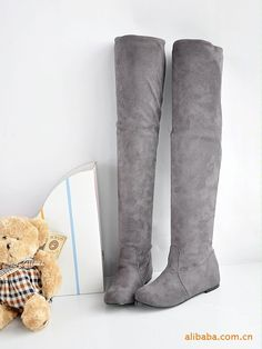 Free Shipping 2013 ladies fashion flat bottom boots for women autumn winter over the knee high leg suede boots low heels brand-inBoots from ...