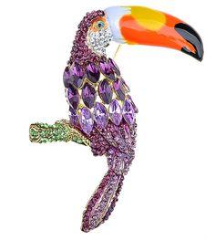 d8ccc3275ef Womens Golden Tone Purple Rhinestones Tropical Toucan Parrot Bird Brooch Pin  - C5117LOW6C5. Bird JewelryJewelry ...