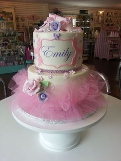 Pink Ballet Tutu & Flowers Birthday Cake