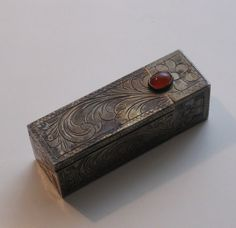 Your place to buy and sell all things handmade Lipstick Case, Coral Stone, Love At First Sight, Antique Silver, Fashion Accessories, Cases, Antiques, Floral, Fragrance