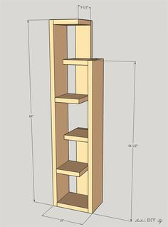 Build a Modern bookshelf with an eclectic design perfect for decor and storage! Diy Bookshelf Design, Modern Bookshelf, Wall Shelves Design, Diy Wooden Projects, Diy Furniture Projects, Woodworking Furniture Plans, Woodworking Projects Diy, Handmade Home Decor, Diy Home Decor