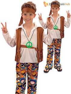 Childrens hippy boy #costume kids #1970s #1960s hippie fancy dress book week day,  View more on the LINK: 	http://www.zeppy.io/product/gb/2/401128394728/