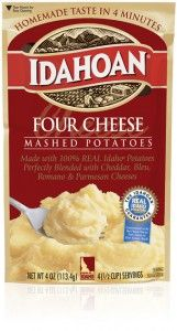 For those who can't get enough of a good thing, we've added four cheeses to 100% REAL Idaho® Potatoes: Cheddar, Bleu, Romano and Parmesan Cheeses mingle to create a rich potato dish.