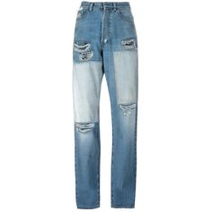 Faith Connexion ripped boyfriend jeans (3980030 PYG) ❤ liked on Polyvore featuring jeans, pants, denim, blue, blue boyfriend jeans, faith connexion, boyfriend jeans, destructed jeans and destroyed boyfriend jeans