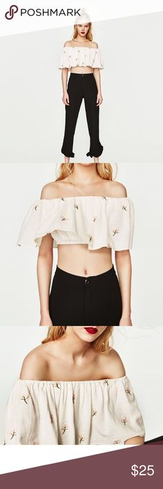 Embroidered Top | Zara New with tags Zara Tops Crop Tops