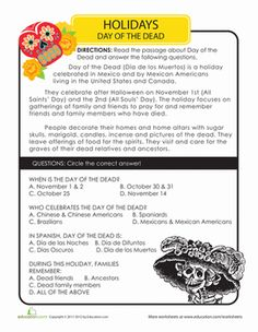 Read all about the Day of the Dead (or Dia de los Muertos), an important Mexican holiday! Your child will read a paragraph about this holiday, and then answer a few reading comprehension questions about what he& learned.