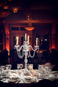 Gorgeous crystal candelabra wedding centerpiece #weddingreception #weddingcenterpieces