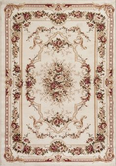 Ivory Cream Victorian French Floral Traditional Rugs | Bargain Area Rugs