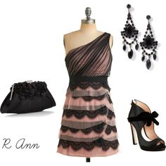 """!!!"" by rachelann34 on Polyvore: I Love this Sheer Black & Pink Ruffled Mini Dress and Accessories, Plus these Opened Toe Heels with an Ankle Bow are too Cute!"