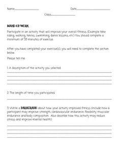 PE Make-Up worksheet