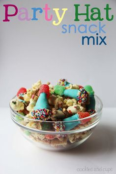 Party Hat Snack Mix - Cookies and Cups :) Cute for Birthday Party or New Year's Eve! :)