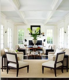 Coffered ceiling, neutral tones with a sisal rug ~