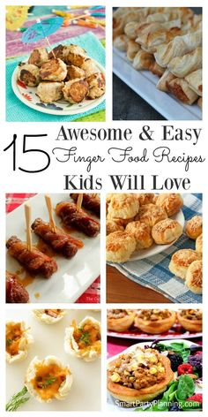 Selection of delicious and easy finger food recipes for kids. They are great to be used as snacks, lunch box fillers or at kids parties. All the recipes are quick to prepare, can be made ahead of time and stored until you need them. Kids will love these r Kids Party Finger Foods, Easy Party Food, Appetizers For Kids, Party Appetizers, Birthday Party Snacks, Birthday Ideas, 2nd Birthday, Meals Kids Love, Healthy Snacks
