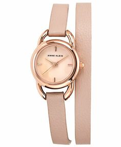 Anne Klein Watch, Women's Light Pink Leather Double Wrap Strap 22mm AK-1432RGLP - Women's Watches - Jewelry & Watches - Macy's