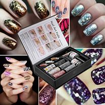 This comprehensive kit provides all you need to make your nails look amazing! It includes 6 different patterned nail foils, glitter, beads, spangles and all the tools you need. Application is quick and easy, the results are awesome!
